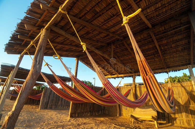 Hamacs colorés de plage image stock