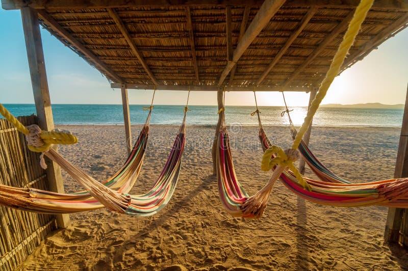 Hamacs et plage lumineux photographie stock