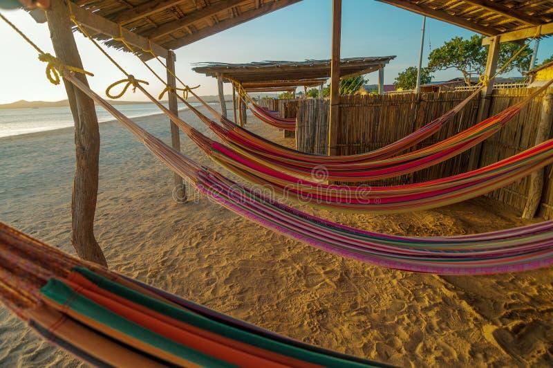 Hamacs colorés de plage photo libre de droits