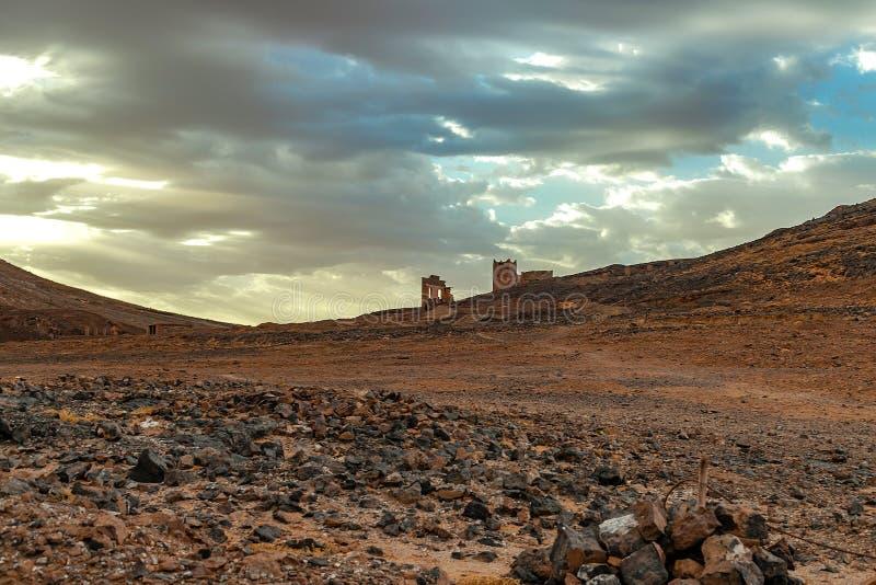 Hamada du Draa, marokkanische Steinwüste im Vordergrund, Berge im Hintergrund, Marokko lizenzfreies stockfoto