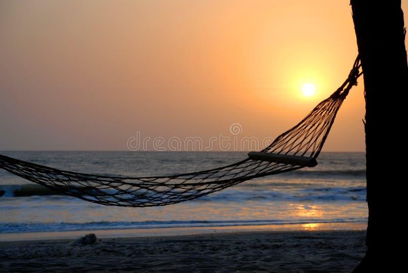 Hamak pod drzewkiem palmowym przy zmierzchem. Nakrętka Skirring, Senegal obraz stock
