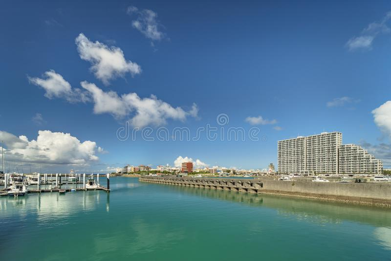 Hamakawa fishing port and fisherina district in the vicinity of the American Village in Chatan City of Okinawa.  stock photo