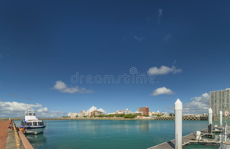 Hamakawa fishing port and fisherina district in the vicinity of the American Village in Chatan City of Okinawa.  stock image