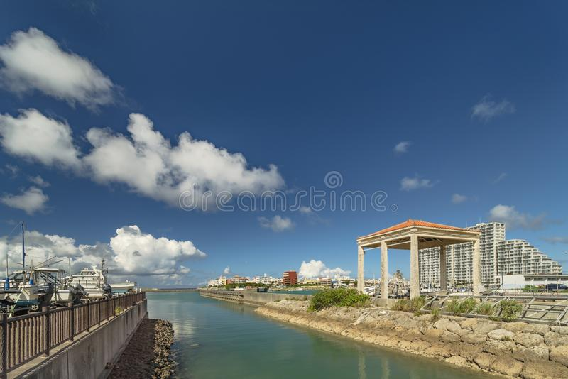 Hamakawa fishing port and fisherina district in the vicinity of the American Village in Chatan City of Okinawa.  royalty free stock image