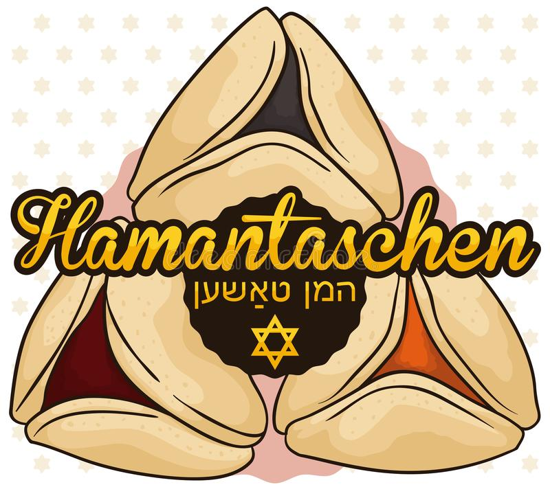 Hamanstachen Cookies with Different Flavors Ready for Purim Celebration, Vector Illustration stock illustration