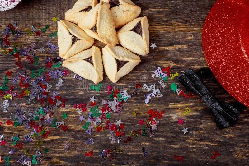 Hamantaschenkoekjes voor Joodse vakantie Purim stock afbeelding