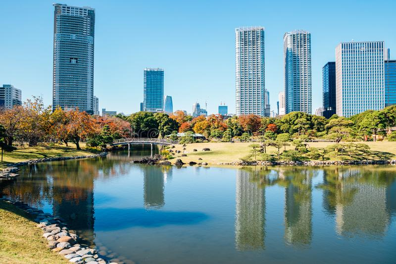 Hamarikyu Gardens modern buildings and pond at autumn in Tokyo, Japan. Hamarikyu Gardens modern buildings and pond in Tokyo, Japan royalty free stock photos