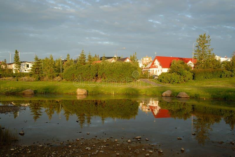Hamarkotslaekur lake in Hafnarfjordur, Iceland. View of a houses in Hamarkotslaekur lake in Hafnarfjordur, near Reykjavik, Iceland royalty free stock photography