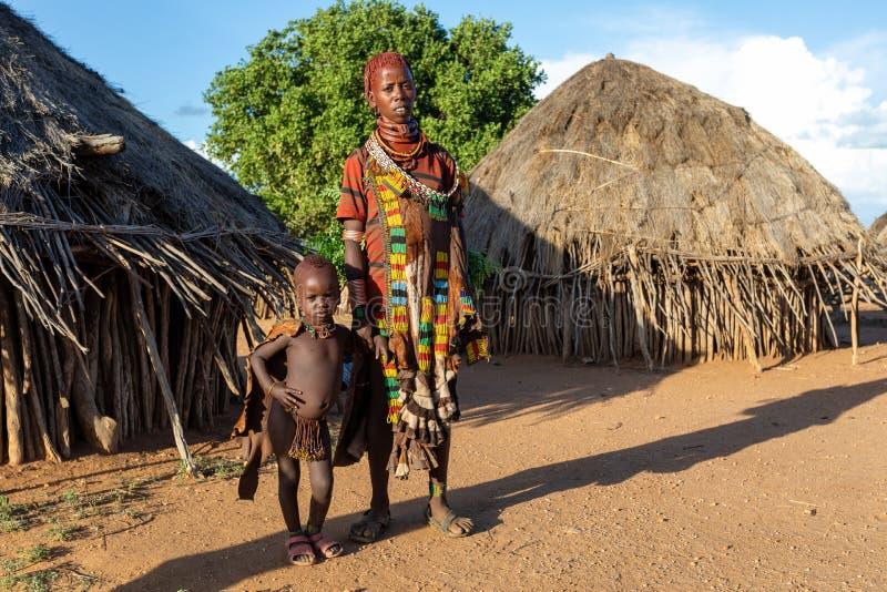Hamarstam van de Omo-Riviervallei, Zuidwestelijk Ethiopië stock fotografie