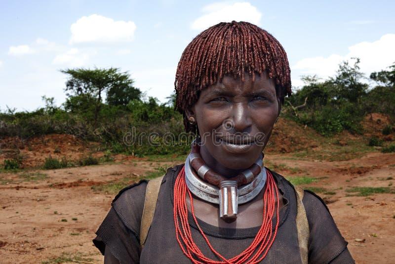 Hamarvrouw in de Omo-vallei in Zuid-Ethiopië, Afrika Foto t royalty-vrije stock foto's