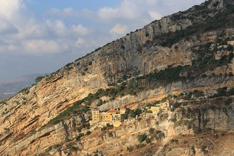 Hamatoura Monastery, Kousba, Lebanon. Hamatoura is a monastery which the monks built in rocky mountains to evade the persecution of the Ottomans against the stock photo