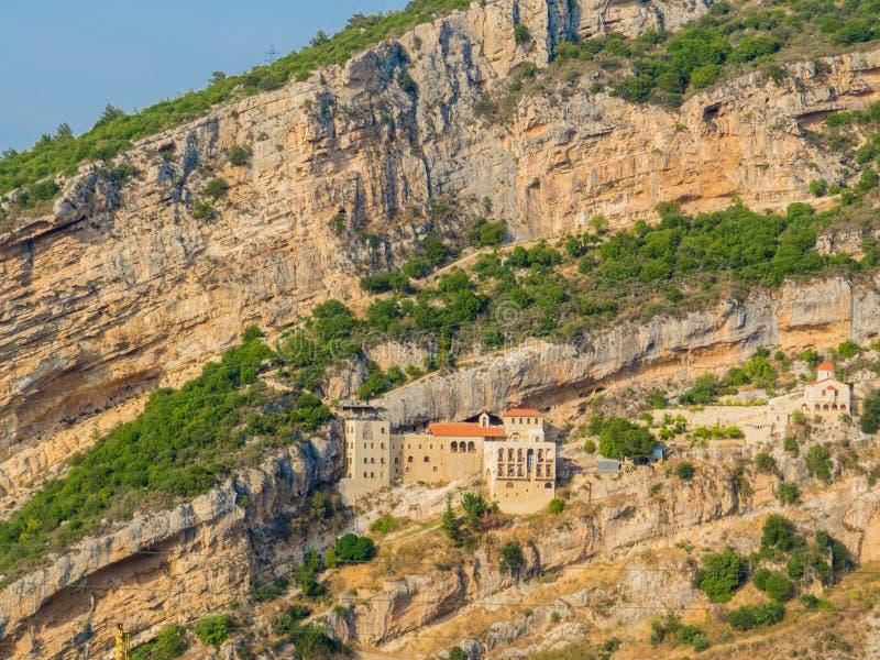 Hamatoura Monastery, Kousba, Lebanon. View of the Hamatoura Monastery in Kousba, Lebanon stock photo