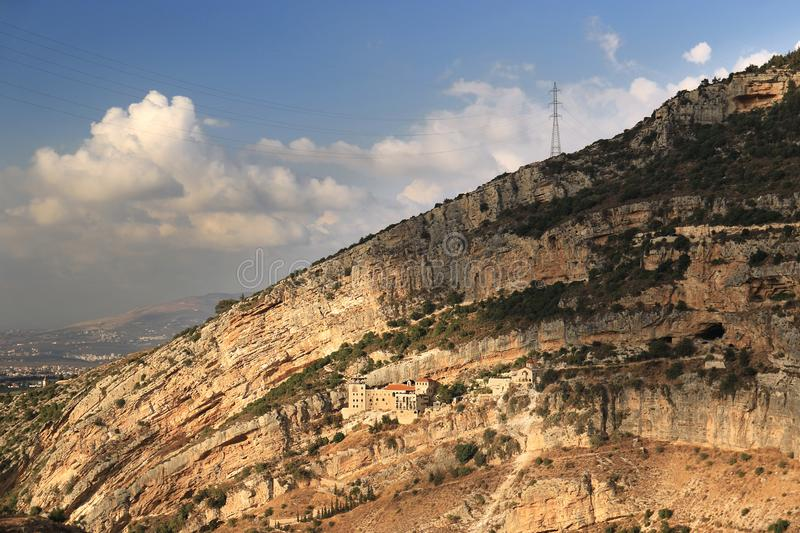 Hamatoura Monastery in the Mountain, Kousba, Lebanon. Hamatoura is a monastery which the monks built in rocky mountains to evade the persecution of the Ottomans royalty free stock image