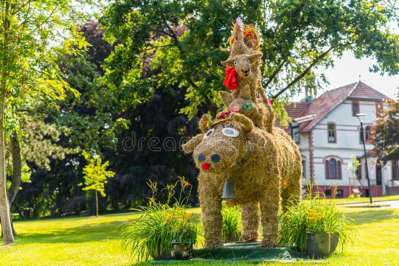 Hambergen, Germany, July, 19 2019: Samtgemeinde Hambergen Various haystacks stacked on top of each other stock photography