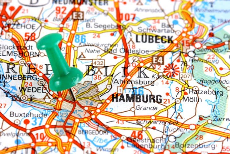 Hambourg sur la carte photo stock