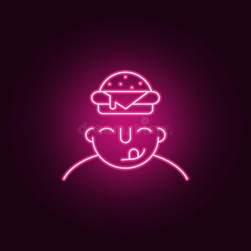hambriento en icono de la mente Elementos de cuál está en su mente en los iconos de neón del estilo Icono simple para las páginas libre illustration
