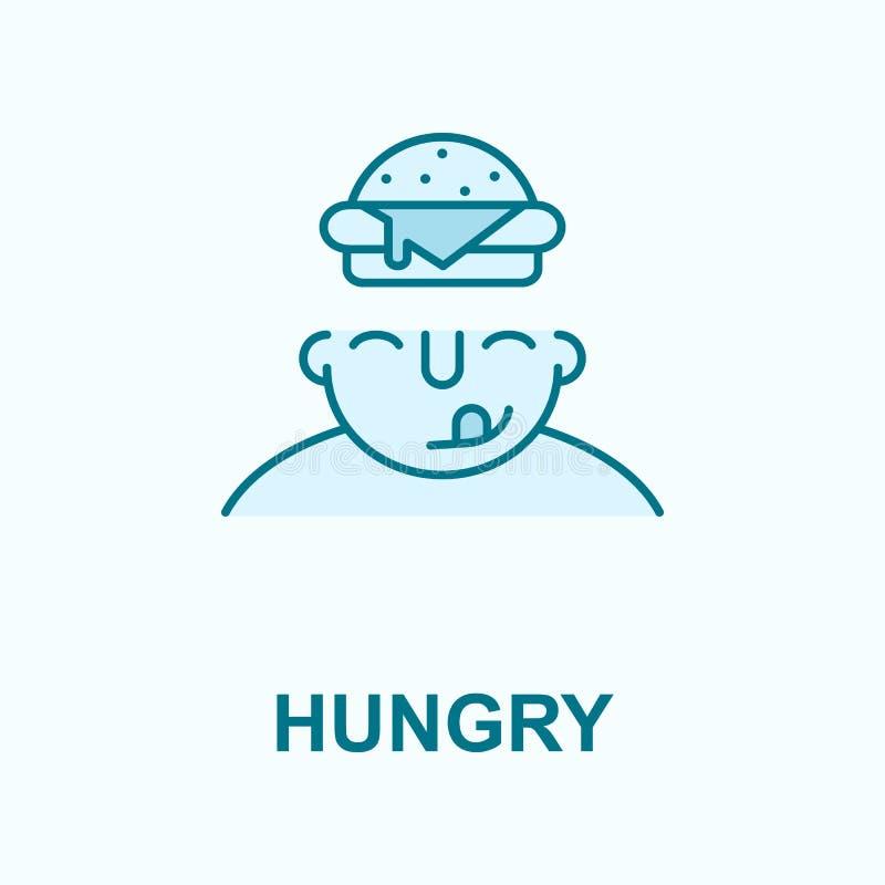 Hambriento en icono del esquema del campo de la mente stock de ilustración
