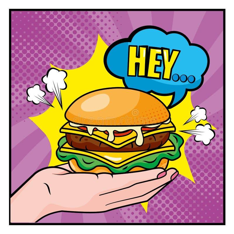 Hambuerger dans la main de femme avec hé le message de bulle de causerie illustration stock