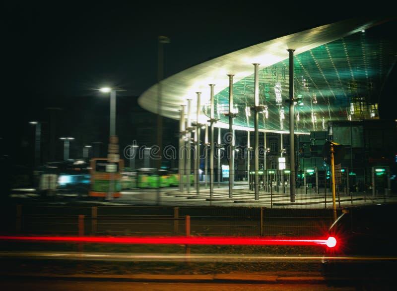 Hamburg, autobus, bahnhof, czasu ujawnienie, żarówka, laser, architektura, samochody, zdjęcie stock