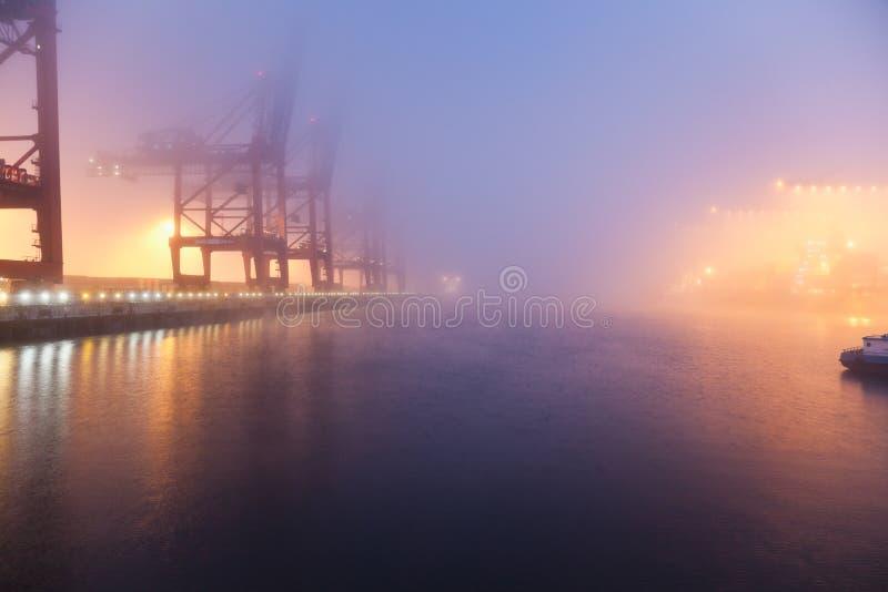 Hamburg, Burchardkai, Mening van mist dichtbij containerschip bij h royalty-vrije stock fotografie