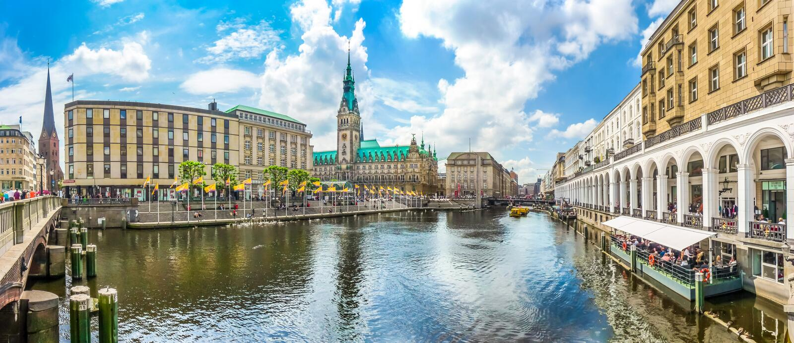 Hamburg city center with town hall and Alster river, Germany. Beautiful view of Hamburg city center with town hall and Alster river, Germany royalty free stock photo