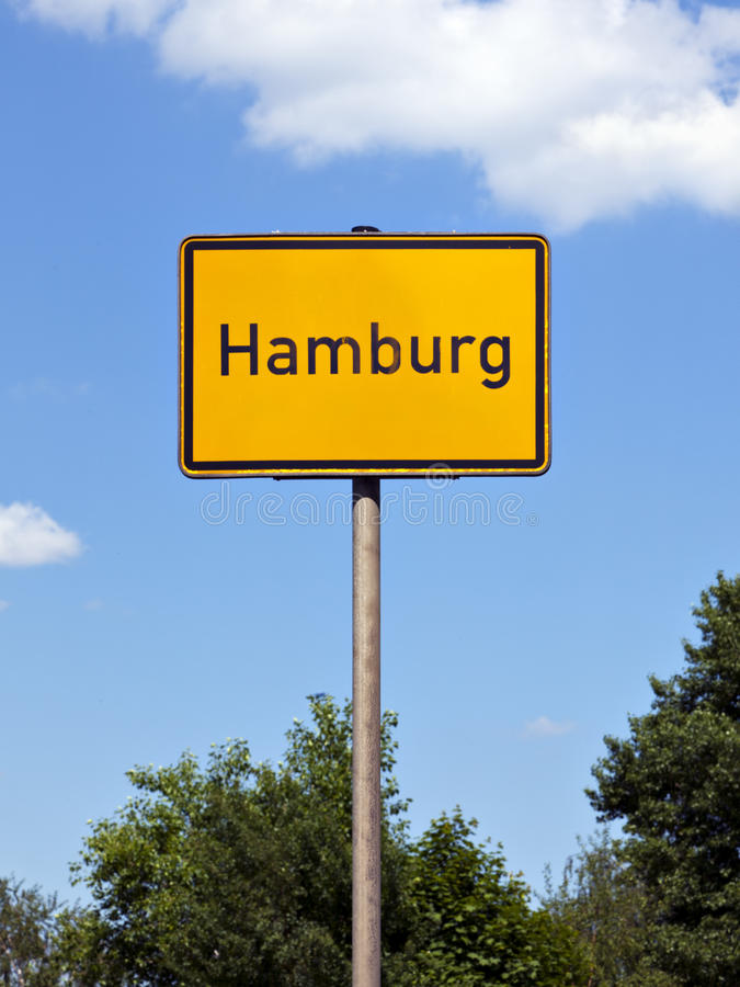 Hamburg city limits sign. City limits sign of Hamburg royalty free stock image