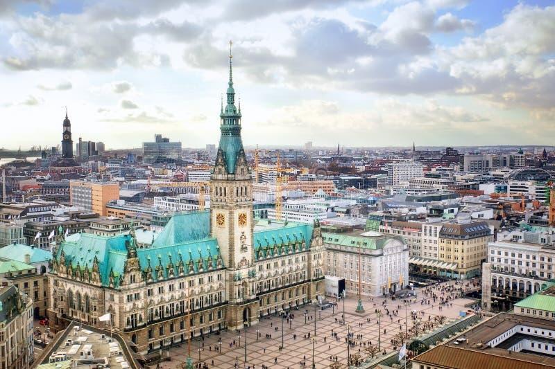 Hamburg cityscape. Hamburg city hall, Germany, view from above royalty free stock photos