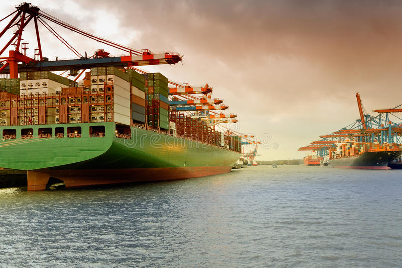 Hamburg, container ship in the harbour Waltershof royalty free stock photos