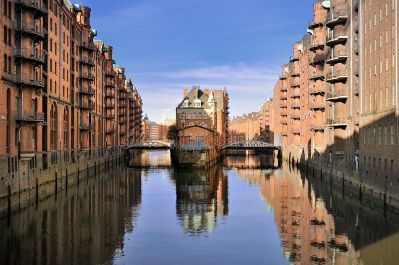 Hamburg, Deutschland, alter Lagerbezirk lizenzfreies stockbild