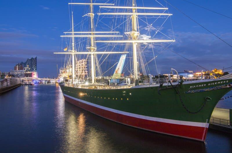 Hamburg, Duitsland - Augustus 05.2017: Rickmer Rickmers in de haven stock afbeelding