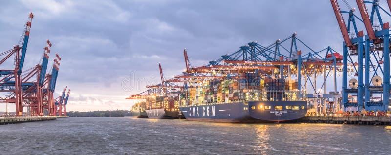Hamburg, Duitsland - Juli 12 2017: De kranen van de containerbrug van de eindburchardkai-het leegmaken schepen in de diepzee stock afbeeldingen