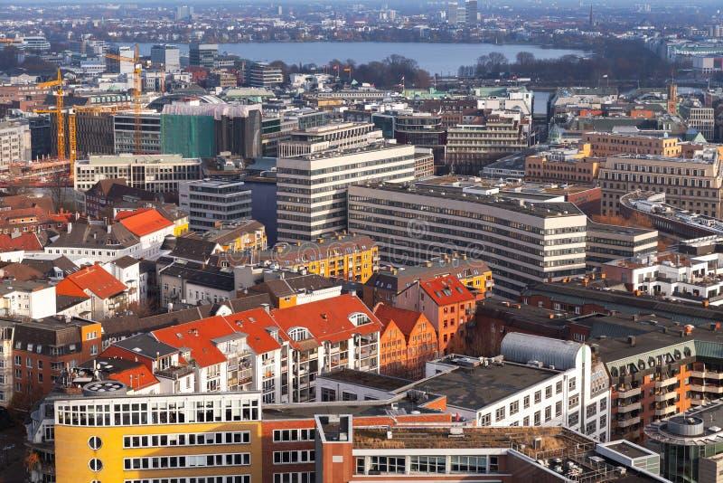 Hamburg, Duitsland Lucht Mening royalty-vrije stock afbeelding
