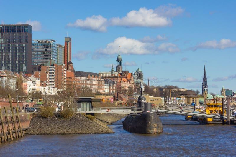 Hamburg elbbruecken genannte Flussbrücken-Containerbahnhofdocks stockfotos