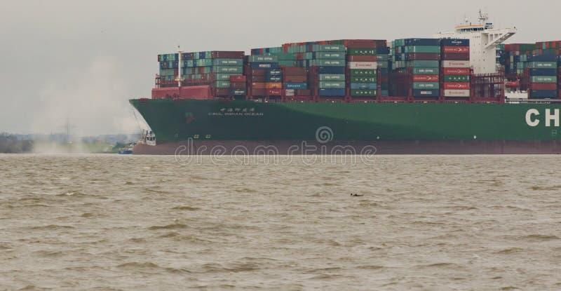 Hamburg, Germany – February 06: container ship China Shipping run agroundon February 06, 2016 in the Elbe near Hamburg.  stock image