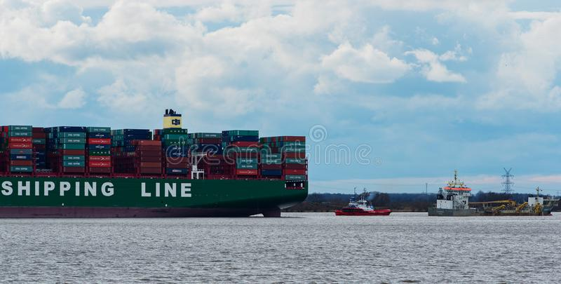 Hamburg, Germany – February 06: container ship China Shipping run agroundon February 06, 2016 in the Elbe near Hamburg.  stock images