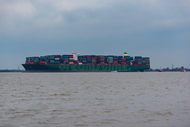 Hamburg, Germany – February 06: container ship China Shipping run agroundon February 06, 2016 in the Elbe near Hamburg.  stock photo