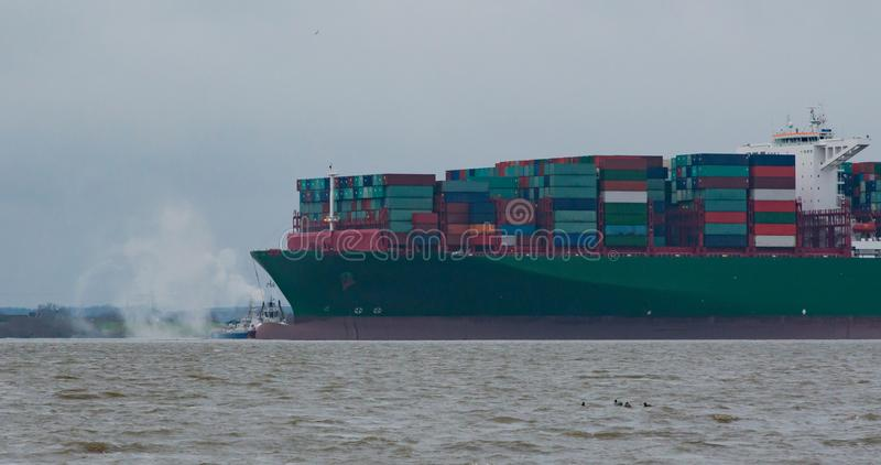 Hamburg, Germany – February 06: container ship China Shipping run agroundon February 06, 2016 in the Elbe near Hamburg.  royalty free stock images
