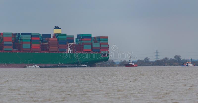 Hamburg, Germany – February 06: container ship China Shipping run agroundon February 06, 2016 in the Elbe near Hamburg.  stock photos