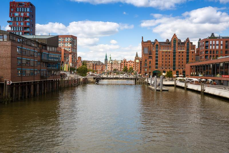 Hamburg city. Hamburg, Germany - August 17, 2016 - Elbe river, bridge and buildings at Speicherstadt Warehouse and Hafencity districts stock photography