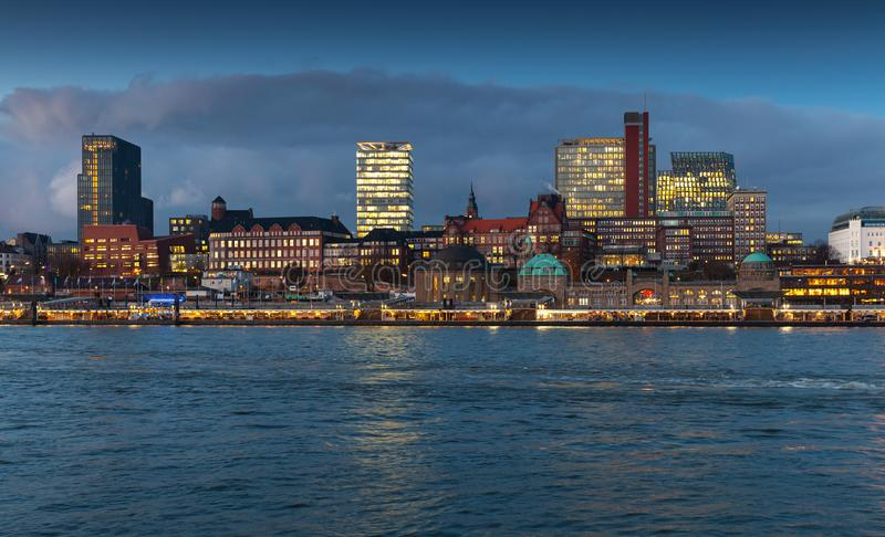 Hamburg, Germany. Cityscape at evening. Hamburg, Germany. Cityscape with modern and old buildings at night stock photo