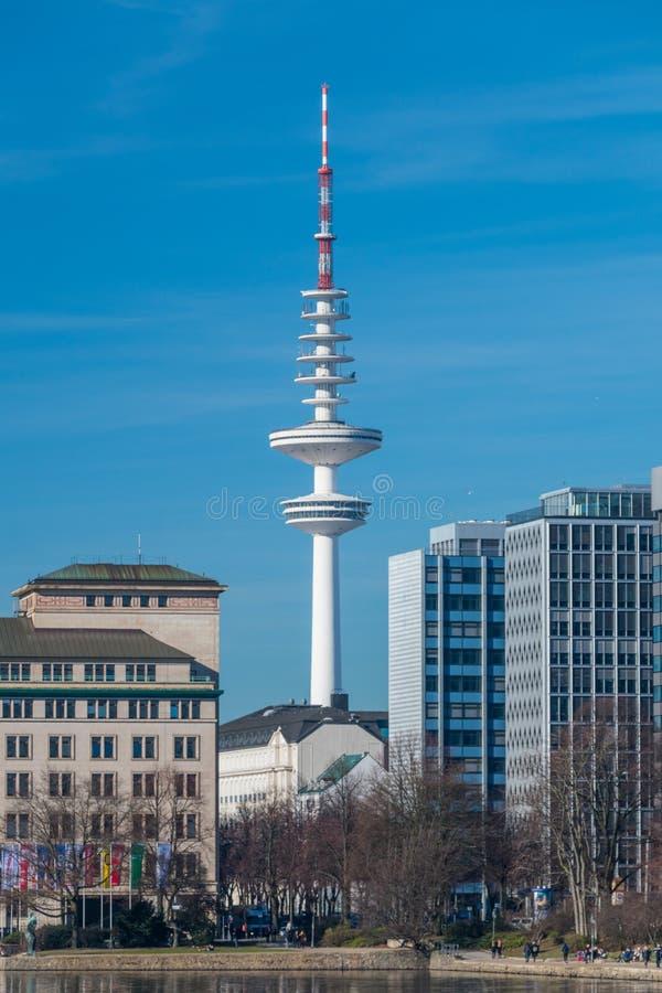 The Heinrich Hertz Tower German: Heinrich-Hertz-Turm landmark radio telecommunication tower in the city of Hamburg royalty free stock photos