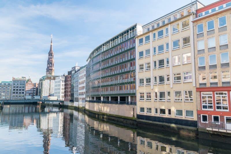 Nikolaifleet canal in the Altstadt of Hamburg stock photos