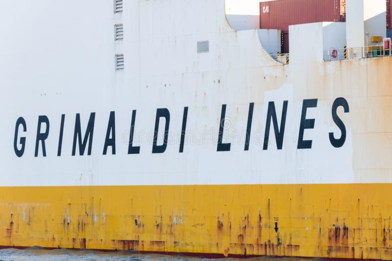 Sign Grimaldi Lines at Grande Luanda cargo ship. Hamburg, Germany - February 15, 2019: Sign Grimaldi Lines at Grande Luanda cargo ship royalty free stock photography