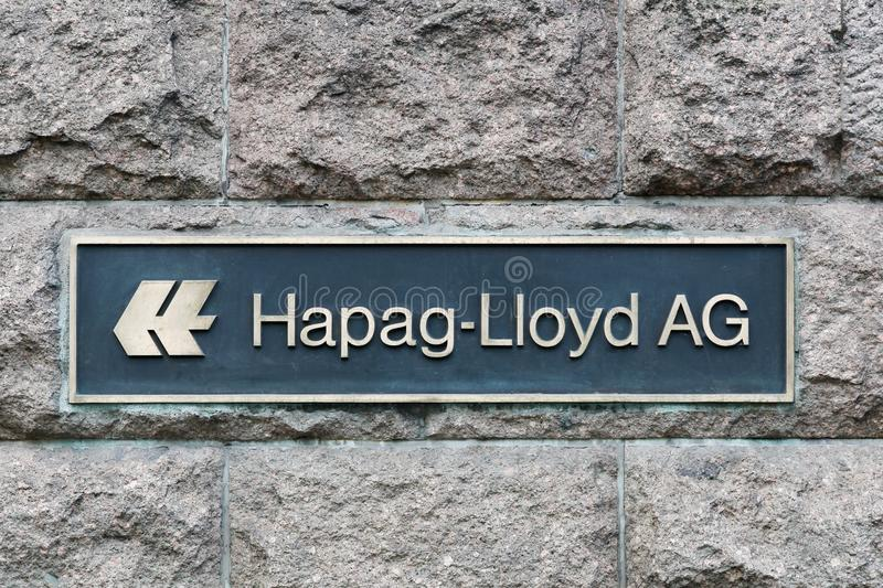 Hapag-Lloyd logo on a wall royalty free stock photos