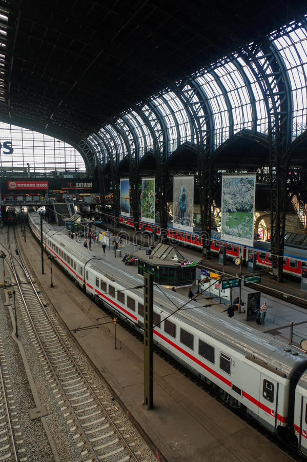 HAMBURG, GERMANY - JULY 18, 2015: Hauptbahnhof is the main railway station in the city, the busiest in the country and the second stock image