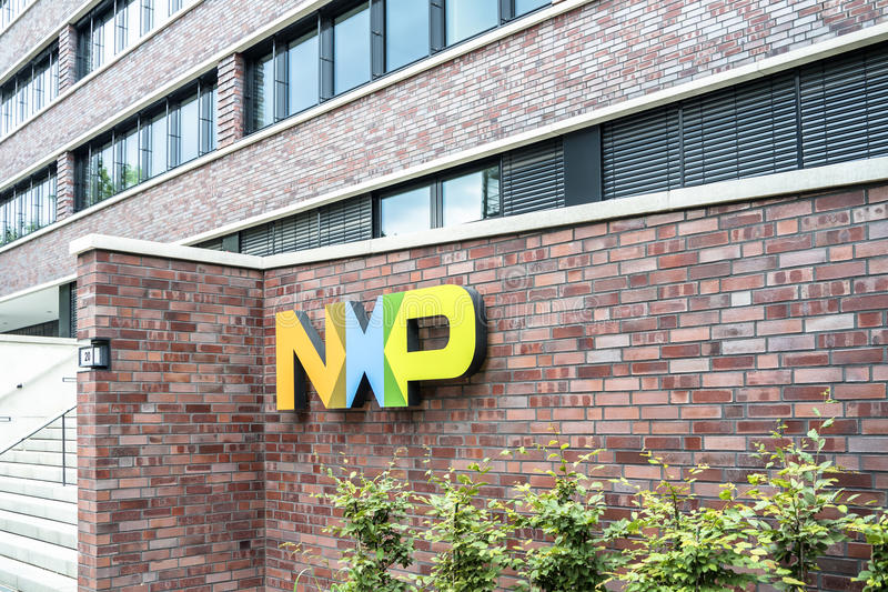 Hamburg , Germany - July 13 2017: NXP Semiconductors N.V. is a dutch global manufacturer which is employing royalty free stock images