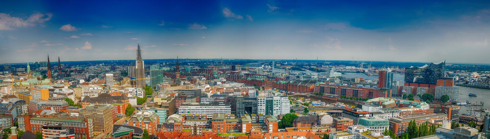 HAMBURG, GERMANY - JULY 2016: Panoramic view of city streets. Ha. Mburg is a major attraction in Germany royalty free stock images