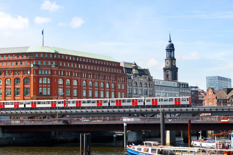 Hamburg, Germany-June 26, 2011:Hamburg subway train going over the bridge stock photography