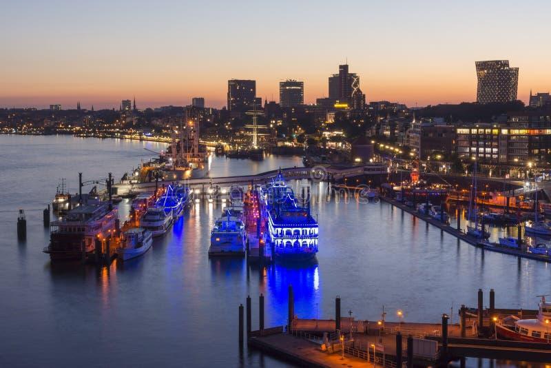 Hamburg, Germany - June 18, 2017: Hamburg harbor at summer evening royalty free stock image