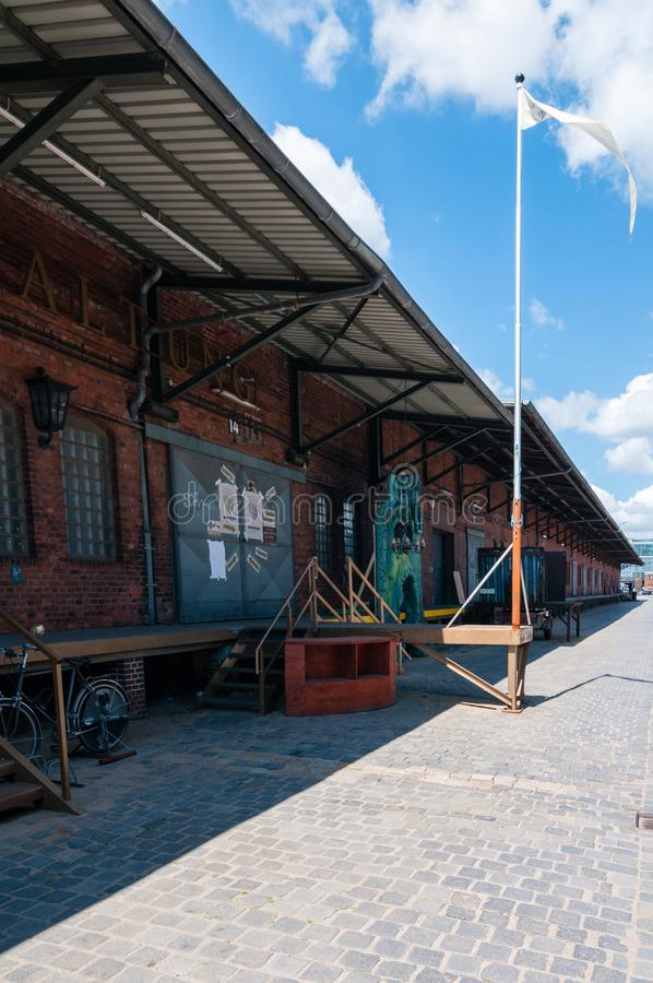 View at former warehouse facility at terminal train station for freight cars in Hafencity Hamburg. Now home for start-ups. Hamburg, Germany - June 28, 2015 stock photo